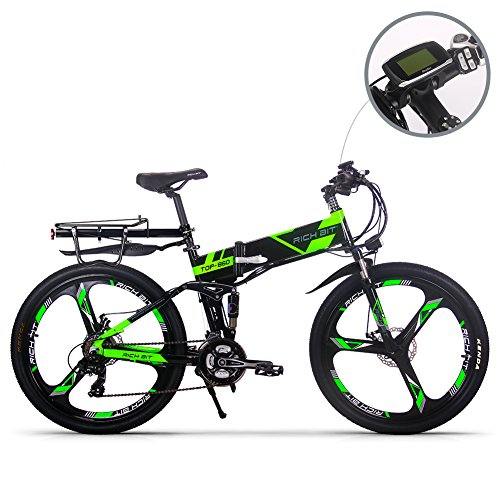 RICH BIT Bicicletta elettrica 250W RT860 Smart e-Bike 36V * 12.8 Ah LG Li-Batteria 26 Pollici Mountain Bike/MTB (GRREN)