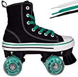 Lenexa MVP Roller Skates for Girls and Boys - Kid's Unisex Quad Roller Skates with High Top Shoe Style for Indoor/Outdoor (Black/Teal, Youth 1)