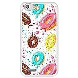 Hapdey Funda Transparente para [ ZTE Blade V6 - D6 - X7 ] diseño [ Donuts con Chocolate y chispitas de Colores ] Carcasa Silicona Flexible TPU