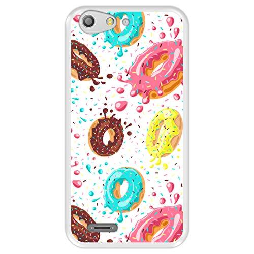 Hapdey Funda Transparente para [ ZTE Blade V6 - D6 ] diseño [ Donuts con Chocolate y chispitas de Colores ] Carcasa Silicona Flexible TPU