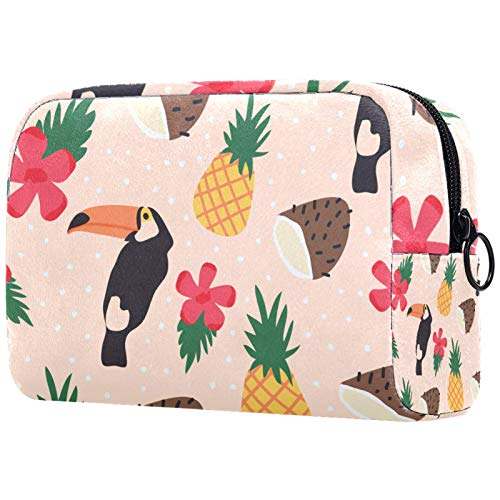 Girl Cosmetic Bags Women Makeup Bag Toiletry Organizer Pouch with Zipper 7.3x3x5.1 Inch Tropical Fresh Pattern with Bird and Fruit