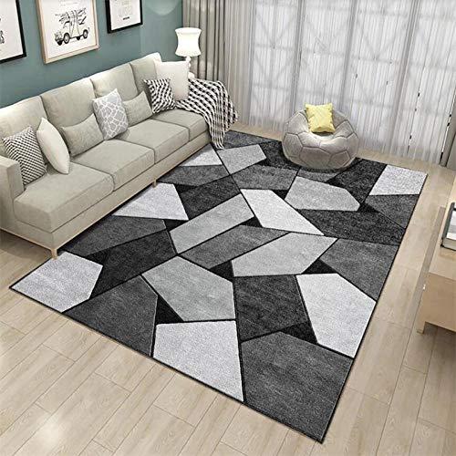 VGFGI Simple en Blanco y Negro Gris Antiguo geometría Irregular Cocina Sala de Estar Dormitorio cabecera impresión 3D Antideslizante Sala de Estar área de decoración Alfombra Felpudo