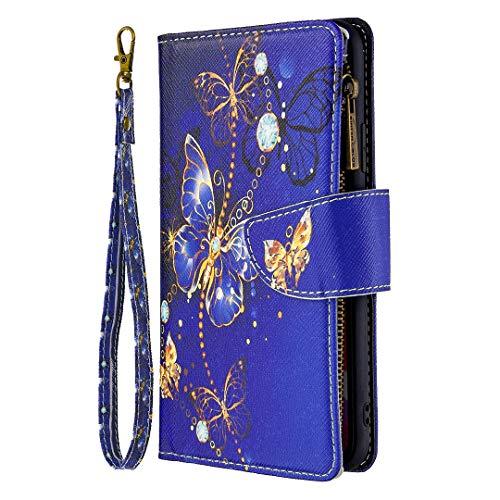 Thoankj Nokia 2.4 Hülle Multifunktional Stoßfest Flip Reißverschluss Tasche PU Leder Wallet Case mit Magnetisch TPU Bumper Folio Back Cover Schutzhülle für Nokia 2.4 Handyhülle Lila Schmetterling