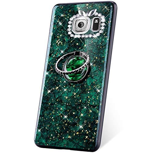JAWSEU Compatible avec Samsung Galaxy S6 Coque Glitter Paillette Brillant Silicone TPU[Support de Bague]Diamant Strass Case Cristal Clair Flexible Souple Gel Bumper Case,vert
