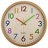 OVBBESS Leise, nicht tickende Kinder-Wanduhr, batteriebetrieben, bunte dekorative Uhr für...