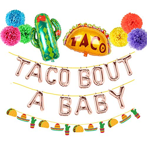 Taco Bout A Baby Decorations Rose Gold Letter Balloons Banner Mexican Fiesta Cactus Baby Shower First 1st Birthday Party Decoration Pom Poms Garland Backdrop Theme Gender Reveal