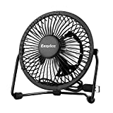 EasyAcc USB Desk Fan 5 Inch Desktop Silent Fan Air Circulator 2 Speeds 360° Rotation for Home and Office Laptop Notebook PC Desk Table Fan - Metal Black