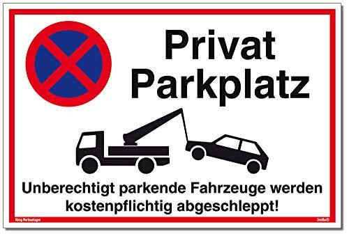 Schild Privat Parkplatz | Alu 30 x 20 cm | Unberechtigt parkende Fahrzeuge Werden kostenpflichtig abgeschleppt! weiß | stabiles Alu Schild mit UV-Schutz | Parkverbot | Dreifke®