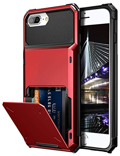 Vofolen Case for iPhone 8 Plus Case Wallet Card Holder ID Slot Scratch Resistant Dual Layer Protective Bumper Rugged TPU Rubber Armor Hard Shell Cover for iPhone 6 Plus 6s Plus 7 Plus 8 Plus (Red)