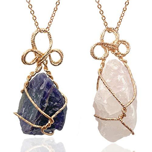 Collares Piedras Preciosas Collar Con Colgante De Piedra De Cristal Natural Para Mujer Rosa / Morado 2 Piezas