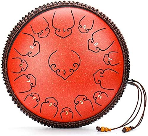 Home Decor Instrumento de percusión de tambor de percusión de 15 tonos de 14 pulgadas utilizado para la meditación Zen de yoga personal con bolsa de batería y baquetas, ideal para adultos y niños,