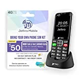 Jethro [SC490] 4G/LTE Unlocked Bar Style Cell Phone for Seniors and Kids with Unlimited 180 Days Plan, Large Screen & Big Buttons, Hearing Aid Compatible, Charging Dock, FCC & IC Certified.