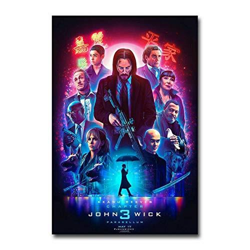 John Wick Chapter Parabellum Keanu Reeves Movie zijden doek Poster Art Bedroom Decoration 60x90cm