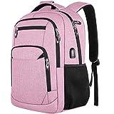 Mochilas Escolares Juveniles Mujer Mochila para Portátil con Puerto de Carga USB y Puerto de Auriculares, Daypacks Impermeable para 15.6 Pulgadas Laptop