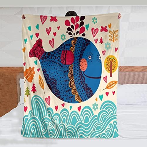 Franela hoja manta dibujos animados ilustración con ballena habitación mascota cama doble sala de estar sofá playa camping carro manta wj 80x60 pulgadas