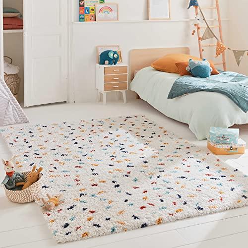 Tapis Salon Chambre Enfant Shaggy Tipi Style Berbere Motif Pois Confetti Multicolore Poil Long Doux (160x230 cm)