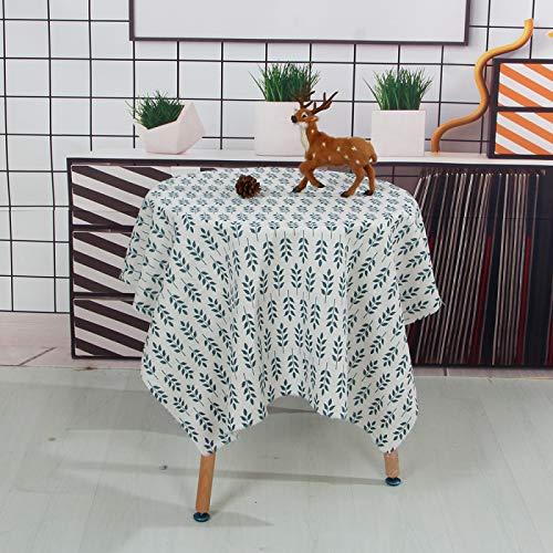 LIUJIU Mantel de lino resistente al agua, mantel de mesa redondo, mantel lavable para fiesta de cumpleaños, redondo, 120 x 170 cm