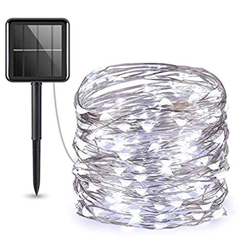 Solar Lights Outdoor, (100 LED 8 Modes) Solar String Lights, 33 ft/10m Solar Garden Lights, Waterproof Christmas Fairy Lights for Tree, Patio,Party (White)