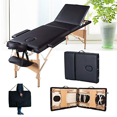 Mobile Massageliege 3 Zonen höhenverstellbar Klappbar Massageliege Holzfüße Kosmetik Massagetisch für Massage Schönheit Tätowieren Therapie Behandlung Salon Reiki Healing (Schwarz)