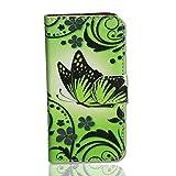 Handy Tasche Hülle book für Huawei Ascend Y300 / Hülle Etui Handytasche Schutzhülle butterfly neongrün
