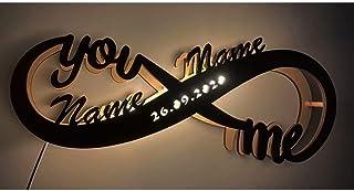Luz de noche LED personalizada Infinity I Love You Decor, luz de pared de marquesina de madera personalizada, letra de nombre grabada, lámpara de noche, decoración del hogar, regalo para bodas