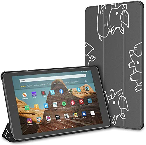 Case for All-New Amazon Fire Hd 10 Tablet (7th and 9th Generation,2017/2019 Release),Slim Folding Stand Cover with Auto Wake/Sleep for 10.1 Inch Tablet, Rhino Doodle Pattern