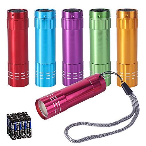 KunHe Small Mini LED Flashlight Pack of 6 COB Flashlights for Kids 100 Lumen With Battery