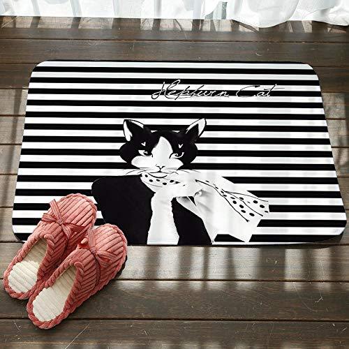 GjbCDWGLA gestreepte zwarte kat sjaal antislip badkamer tapijt zachte textuur vloer mat wasbaar bad matten water absorberende tapijten deurmat 50 cm x 80 cm