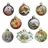Idea Mobile Palline Natale Dipinte a Mano Confezione 8 Palline di Natale Come Decorazioni Natalizie per Albero di Natale