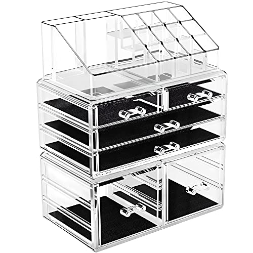 YITAHOME Makeup Organizer Acrylic Jewelry Storage Case Display Box Spacious Clear Cosmetic Storage Drawers for Dresser, Vanity and Countertop 3 Pieces Set