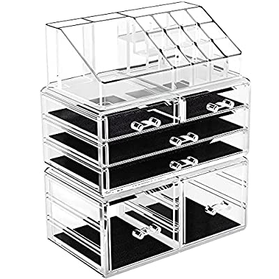 Amazon - 20% Off on Makeup Organizer Acrylic Jewelry Storage Case Display Box Spacious Clear Cosmetic Storage with 6 Drawers