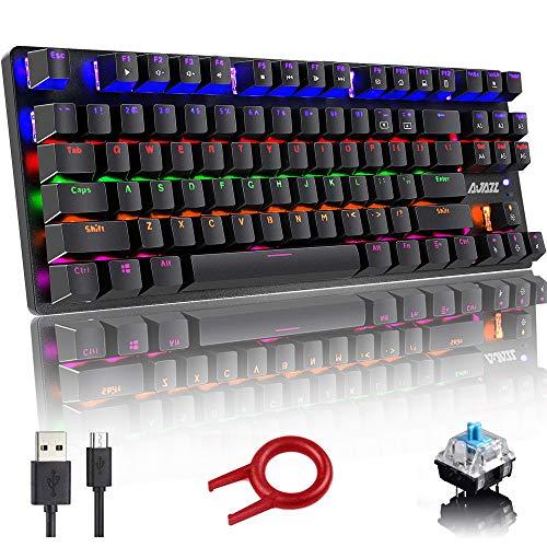 Mechanische Tastatur, 87-Tasten-Kompaktspieltastatur, 24 Modi Rainbow Mixed LED-Tastatur mit Hintergrundbeleuchtung, USB-Tastatur mit Kabel mit blauem Schalter, Anti-Ghosting-Taste - Schwarz