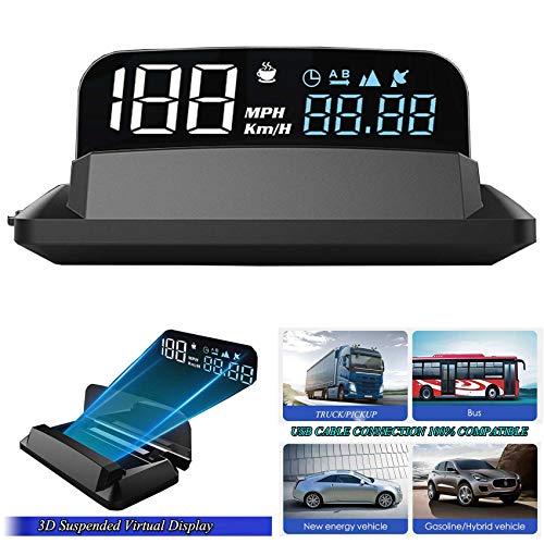 5  FHD 4K CAR GPS HUD Velocímetro Pantalla Virtual Suspendida 3D GPS+BDS Voltaje 5-24V Satélite Tiempo de Conducción único Sensor de Luz Altitud Compatible para Todos los Autos Camiones SUV ATV Pickup