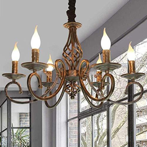 Pendelleuchte Antike Bronze Kronleuchter Industrielle Retro Metall Hängelampe E14 * 6 Flammenhöhe Hängeleuchten Verstellbare Kerze Deckenleuchte Für Wohnzimmer Esszimmer Schlafzimmer Pendellampe