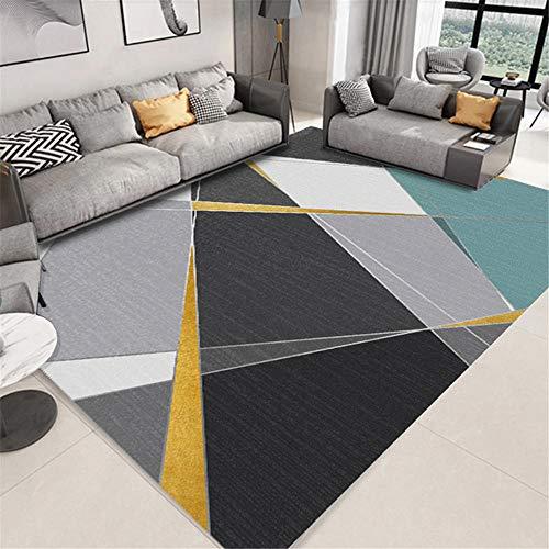 Xiaosua antirutsch Teppich Grau Wohnzimmer Teppichgraues klassisches geometrisches Muster mit langlebigem Teppich weich spielteppich Baby 180x200cm kleines Sofa für jugendzimmer 5ft 10.9''X6ft 6.7''