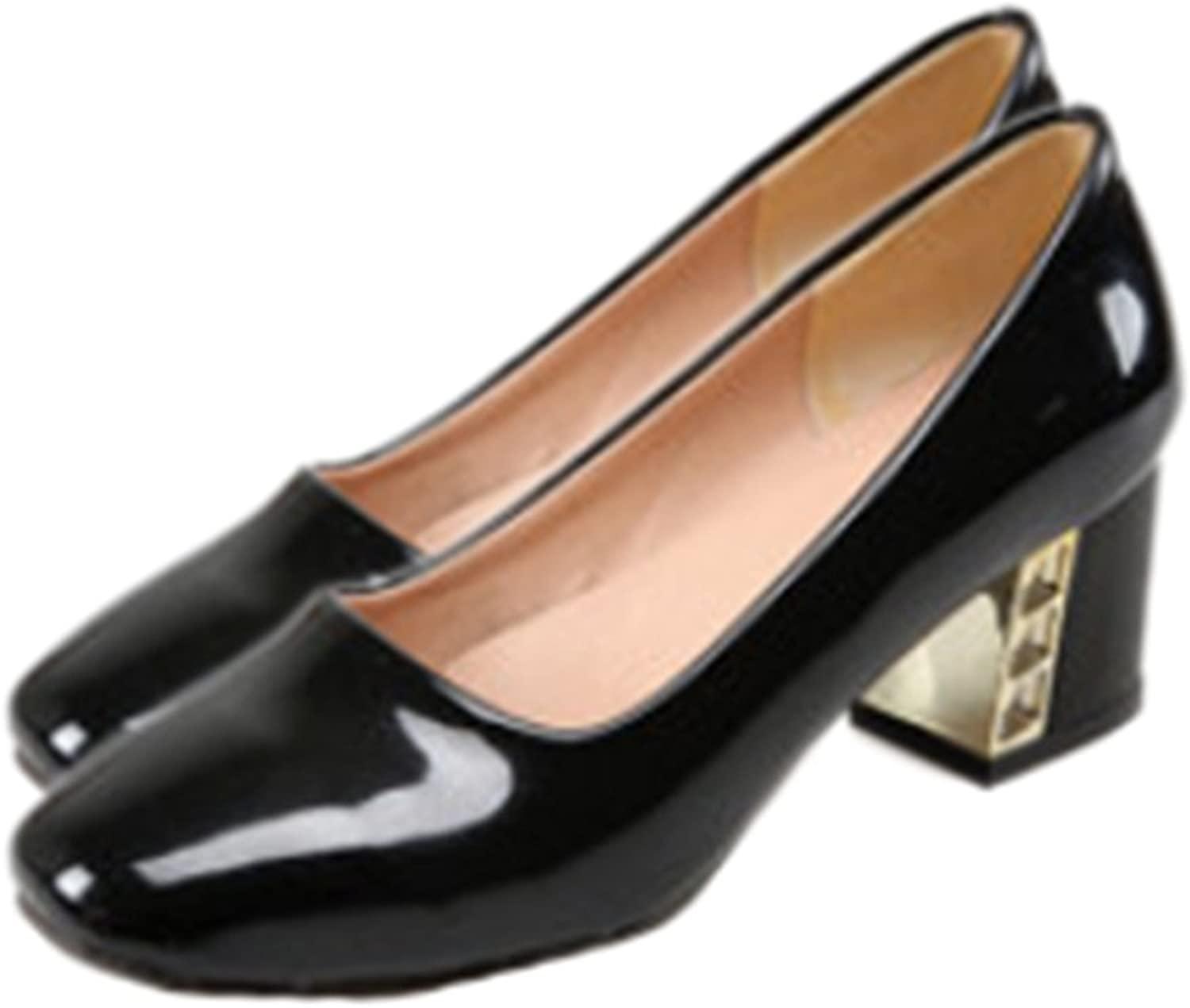 Middle Heel Low-cut Work Thin shoes black 39