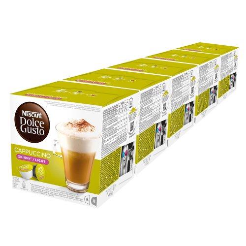Nescafé Dolce Gusto Cappuccino light, weniger Kalorien, Kaffee, Kaffeekapsel, 5er Pack, 5 x 16 Kapseln (40 Portionen)