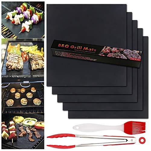 BBQ Grillmatte 7er Set Grillmatten 100% Antihaft Wiederverwendbar Grillmatten Einhaltung der FDA-Standards PFOA Frei Grill Mat für Holzkohle Gasgrill & Backofen 40 * 33cm (Schwarz)