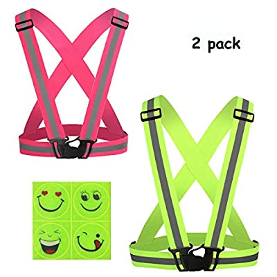 Reflective Vest 2 Pack, Elastic and Adjustable Reflective Gear High Visibility for Running, Walking, Jogging, Cycling, Motorcycle with 4 pcs Reflective Safety Stickers as Gift