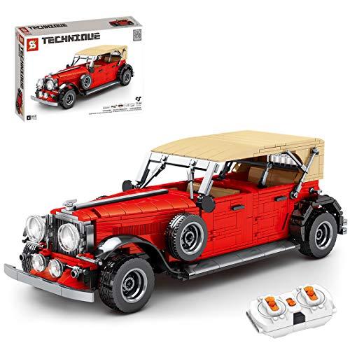 BGOOD Bloques de construcción para coche, 1134 bloques de construcción de 2,4 G, tecnología Oldertimer coche deportivo con mando a distancia y motor compatible con la técnica Lego