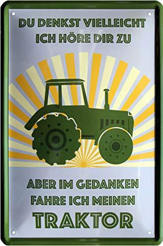 Ik hoor niet toe in gedachten fahre ich Meinen Traktor 20x30 cm metalen bord 500