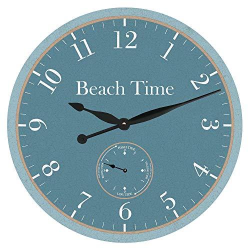 Reloj de pared personalizado con zona horaria sin garrapatas redondo de madera con esfera de marea vintage decoración del hogar sala de estar dormitorio oficina escuela habitación bebé reloj