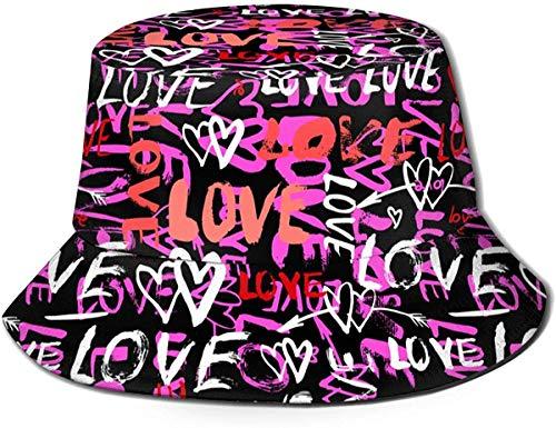 Unisex I Love Unicorn Print Travel Bucket Hat Summer Fisherman cap Cappello da Sole-Hearts And Words Love