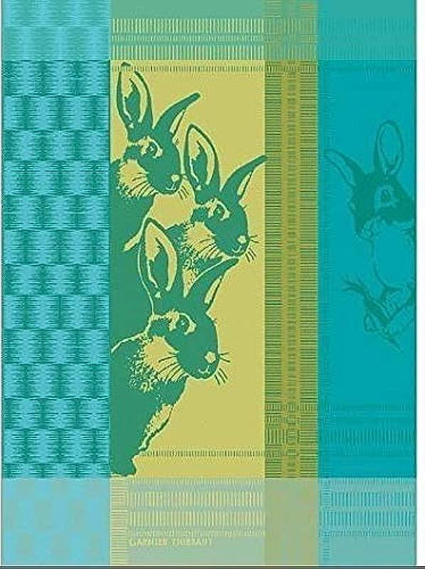Garnier Thiebaut Petits Lapins Small Rabbits Jaune French Jacquard Kitchen Tea Towel 100 Cotton