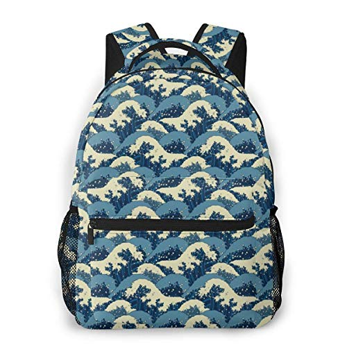Lawenp Japanese Wave Pattern Travel Laptop Backpack Business Anti Theft Slim Durable Laptops Backpack Water Resistant College School Computer Bag for Women & Men Fits 15.6 Inch Notebook