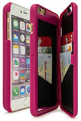 Funda para iPhone 6 Plus y 6S Plus de 5.5', con función de soporte, tarjetero y espejo, color rosa