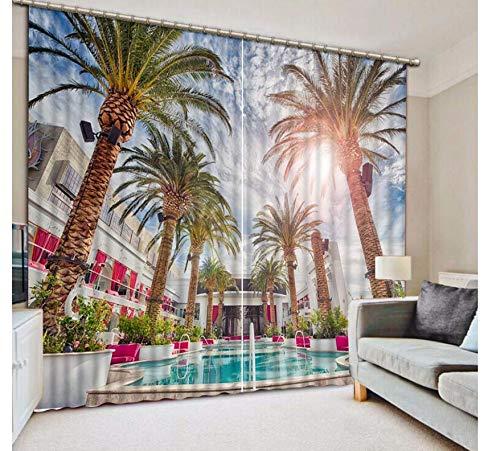 """YSLTTY Fenstervorhänge Mode Customized Home Schlafzimmer Dekoration 3D Vorhang Pool Hotel Kokosnuss Vorhänge Für Schlafzimmer Blackout Shade Wear Hook 229(H) x229(W) CM/90\""""X90\"""""""