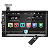 Touch Screen Car Stereo - Bluetooth Car Radio Double Din Multimedia Mp5 Player, 7 inch Digital Screen Car Audio Player with FM Radio, Mirror Link, SD/USB/Aux, Rear View Camera