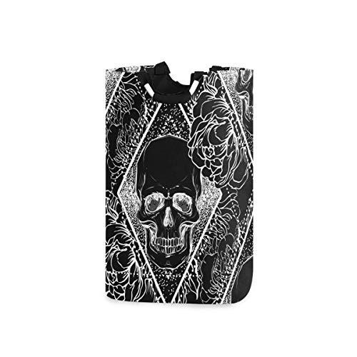 DYCBNESS Cesto para la Colada,Cráneo Humano con peonía Rosa y Flores de Amapola sobre Fondo de geometría Sagrada,Cesta de lavandería Plegable Grande,Cesto de Ropa Plegable,Papelera de Lavado Plegable
