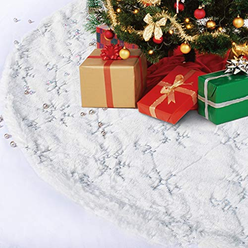 KeyLaLa Christmas Tree Skirt White-35 Inch Xmas Luxury Silver Snowflake Sequin&Faux Fur Snowy Rug Fit for 4-9 ft Christmas Tree Holiday Party Decorations…